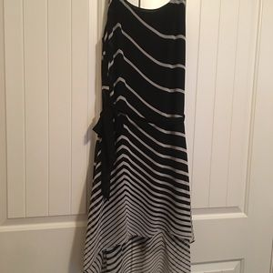 Black and cream belted asymmetrical dress